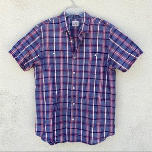 Howe men's plaid button down shirt short sleeve XL